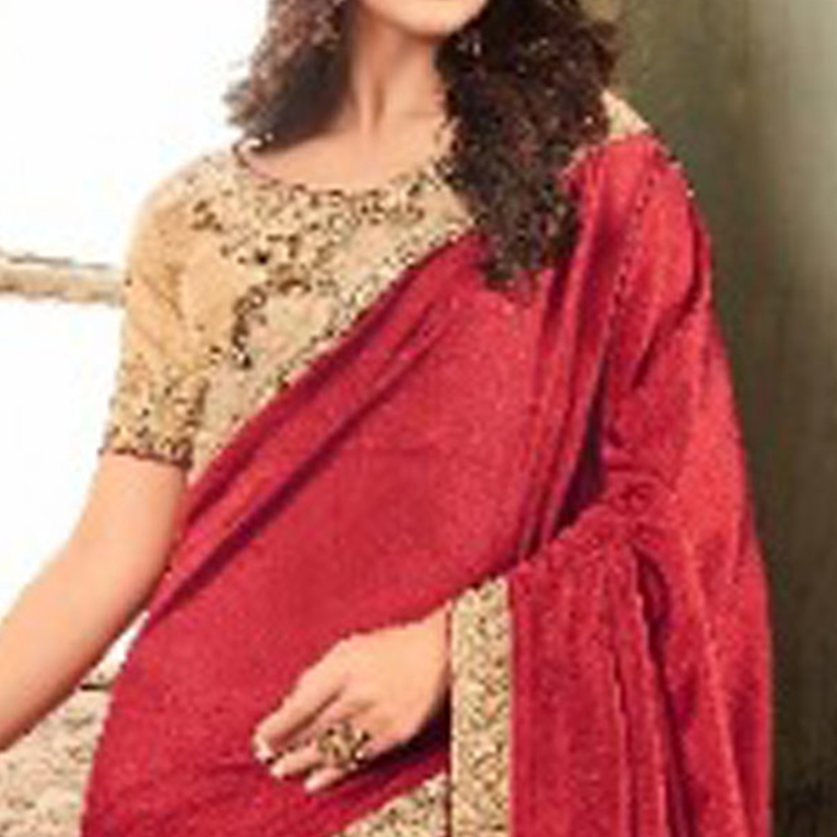 Demanding Red Colored Party Wear Embroidered Art Silk Saree