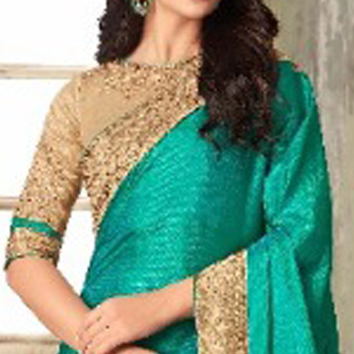 Pleasant Turquoise-Beige Colored Party Wear Embroidered Art Silk Saree