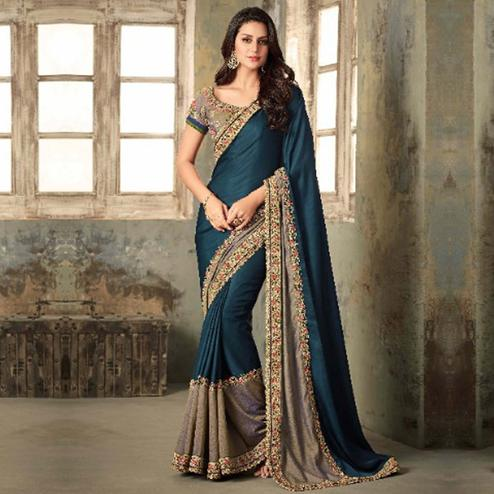 Unique Stone Blue Colored Party Wear Embroidered Art Silk Saree