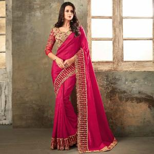 Refreshing Deep Pink Colored Party Wear Embroidered Art Silk Saree