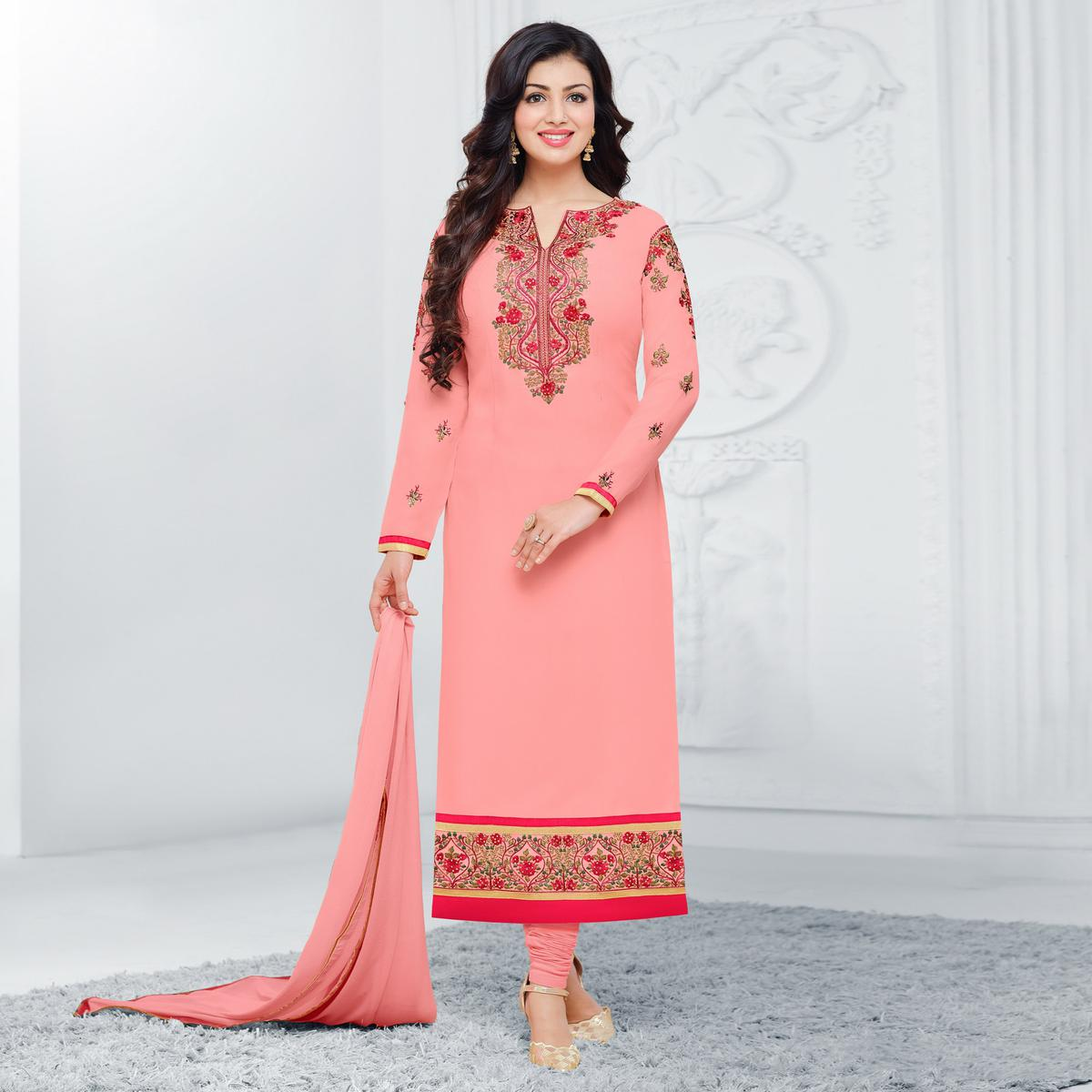 Ravishing Light Pink Floral Embroidered Straight Cut Georgette Suit