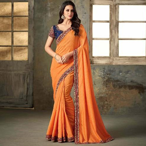 Elegant Orange Colored Party Wear Embroidered Art Silk Saree