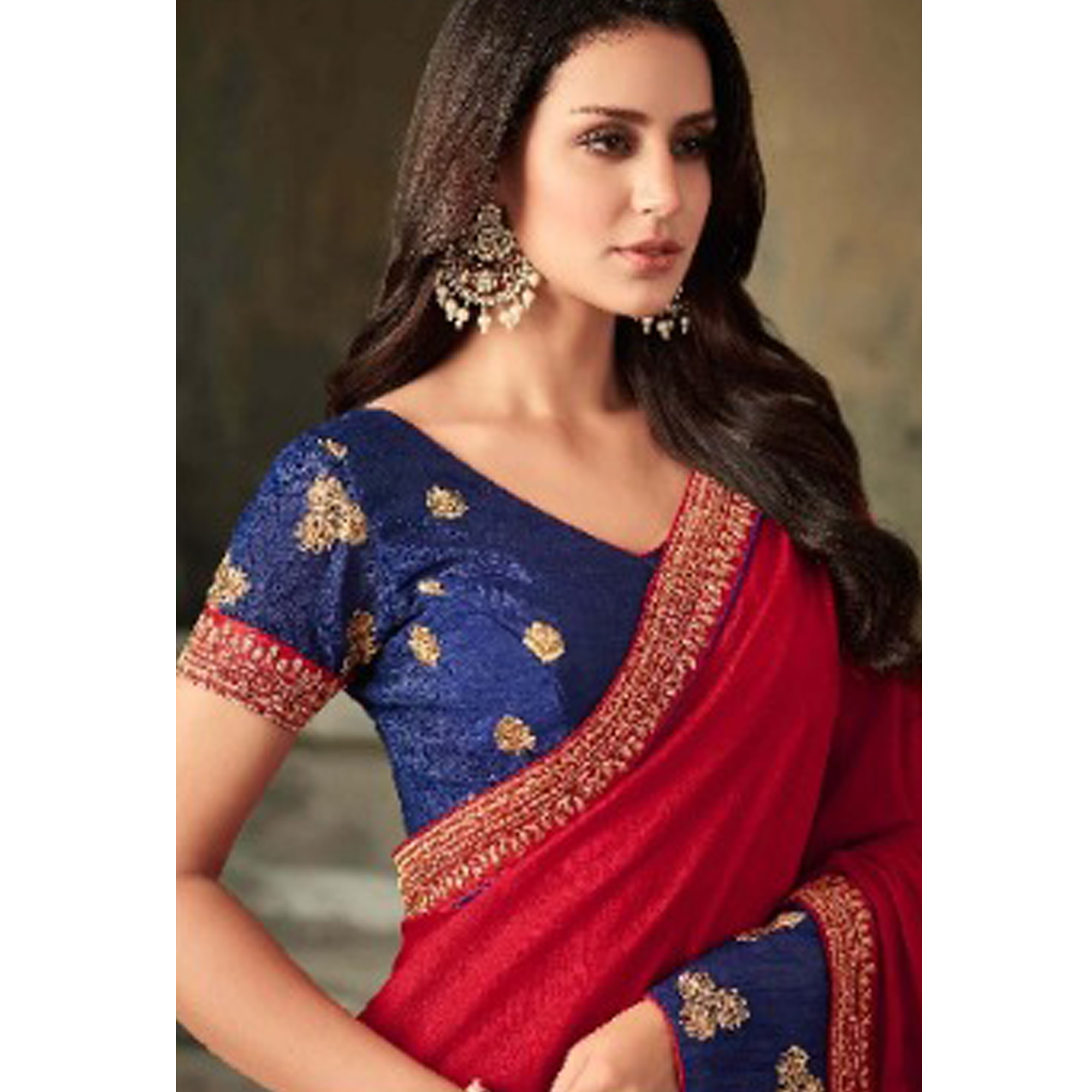Alluring Deep Red Colored Party Wear Embroidered Art Silk Saree
