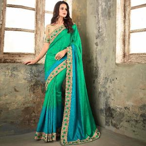 Radiant Green-Teal Blue Colored Party Wear Embroidered Art Silk Saree