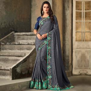 Opulent Grey Colored Party Wear Embroidered Art Silk Saree