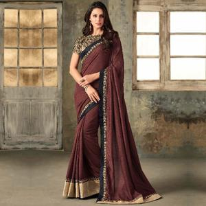 Dazzling Brown Colored Party Wear Embroidered Art Silk Saree