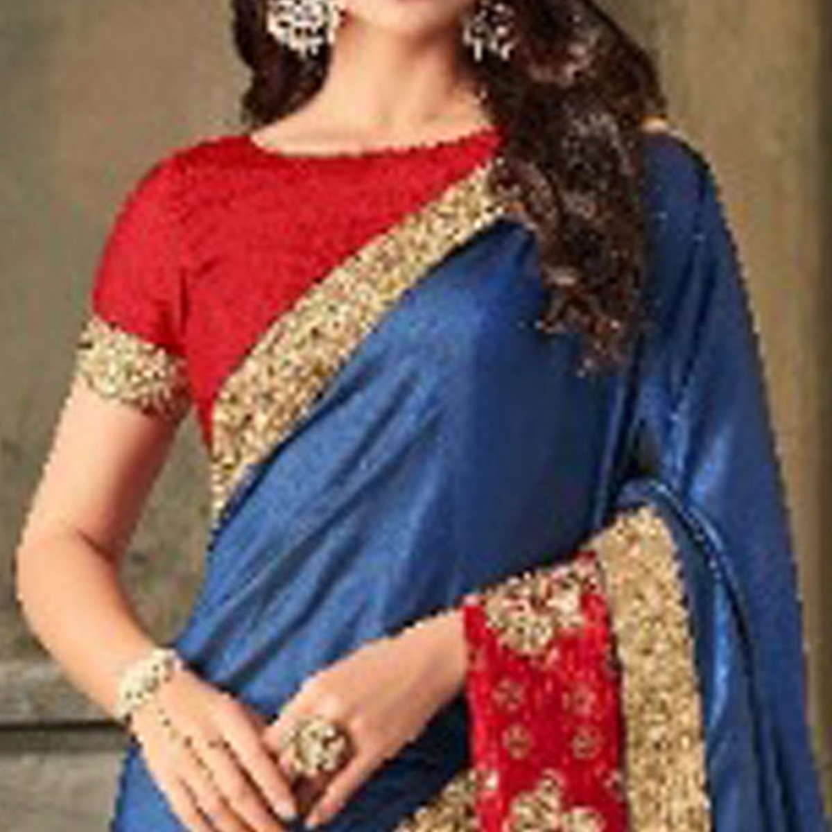 Flattering Steel Blue Colored Party Wear Embroidered Art Silk Saree
