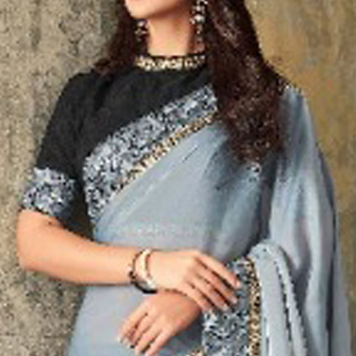 Breathtaking Grey-Blue Colored Party Wear Embroidered Art Silk Saree