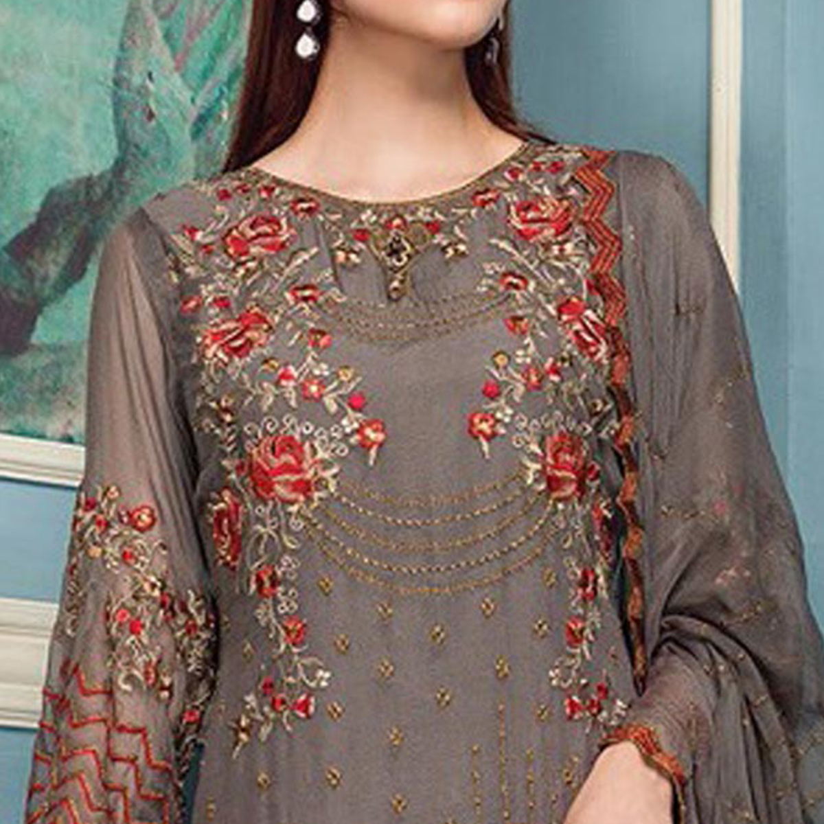 Jazzy Grey Colored Party Wear Embroidered Georgette Pant Style Suit