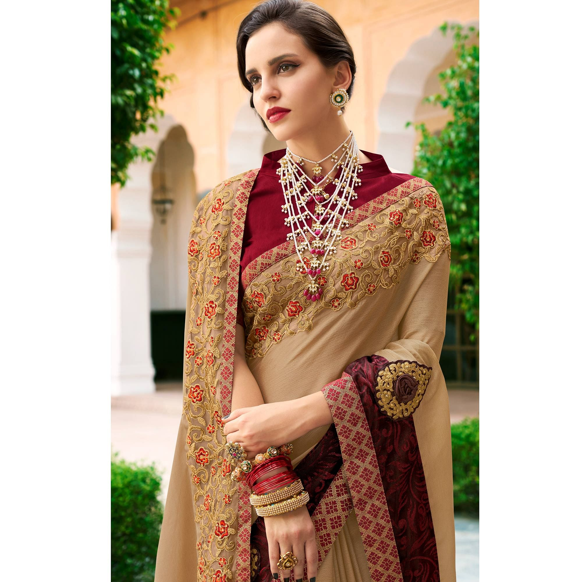 Impressive Beige Colored Partywear Embroidered Chiffon-Georgette Saree