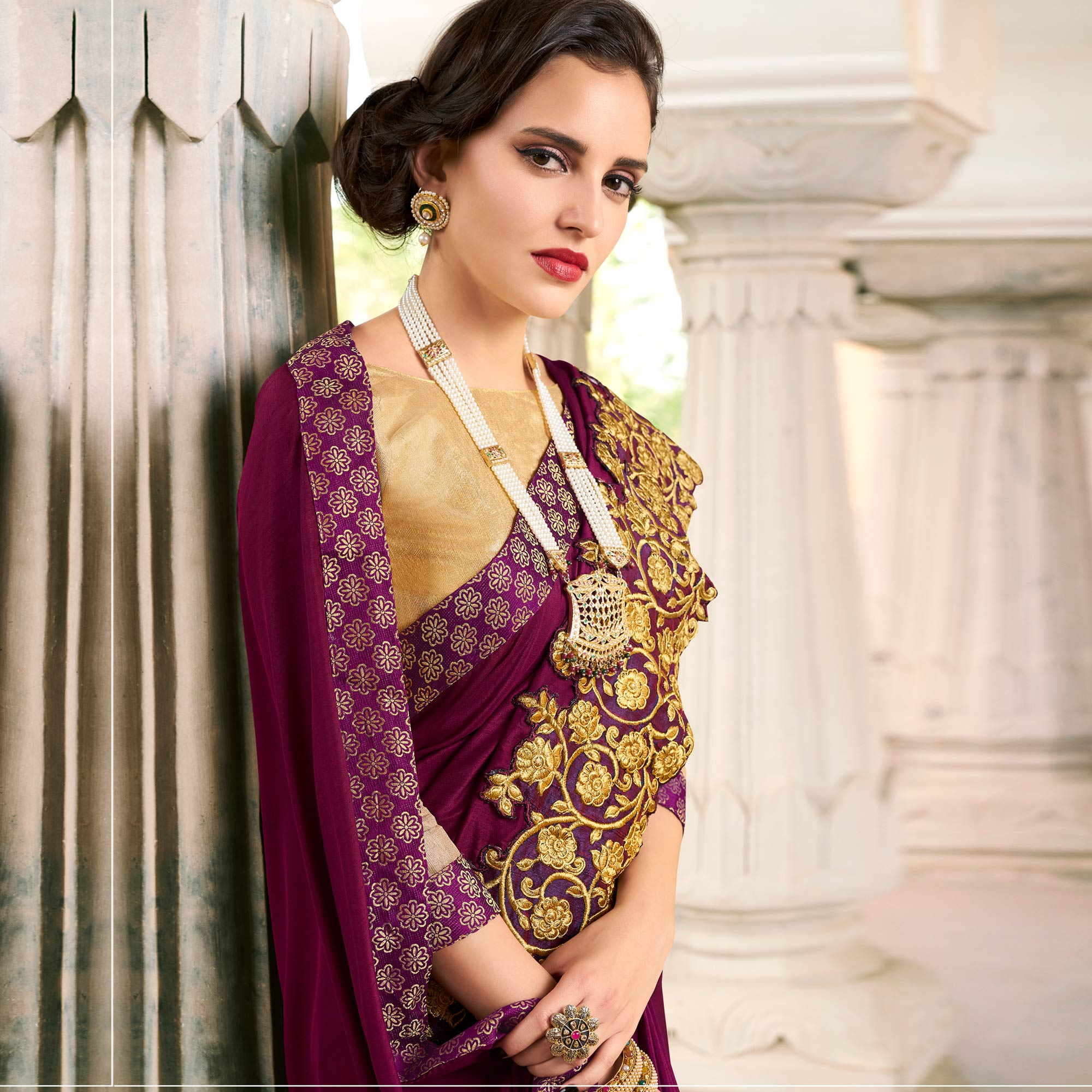 Attractive Wine Colored Partywear Embroidered Art Silk Saree