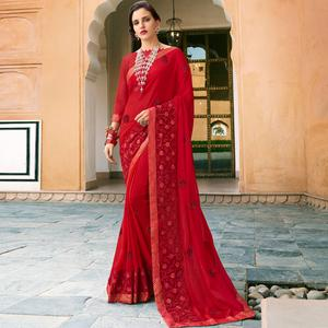 Beautiful Red Colored Partywear Embroidered Silk-Georgette Saree