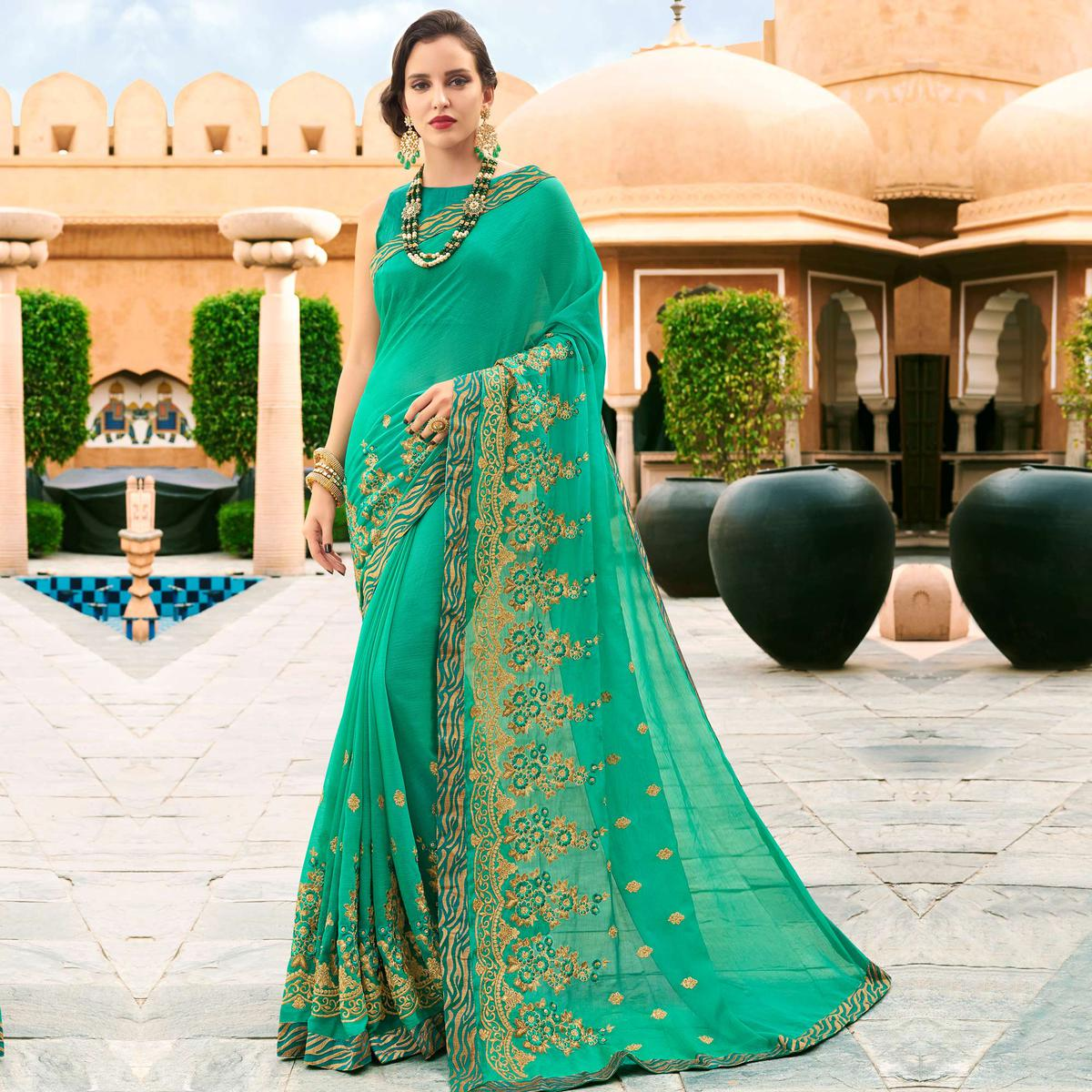 Refreshing Turquoise Green Colored Partywear Embroidered Chiffon Saree