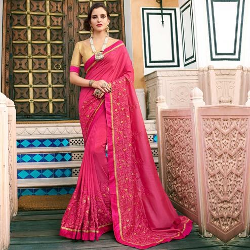 Stunning Dark Pink Colored Partywear Embroidered Art Silk Saree