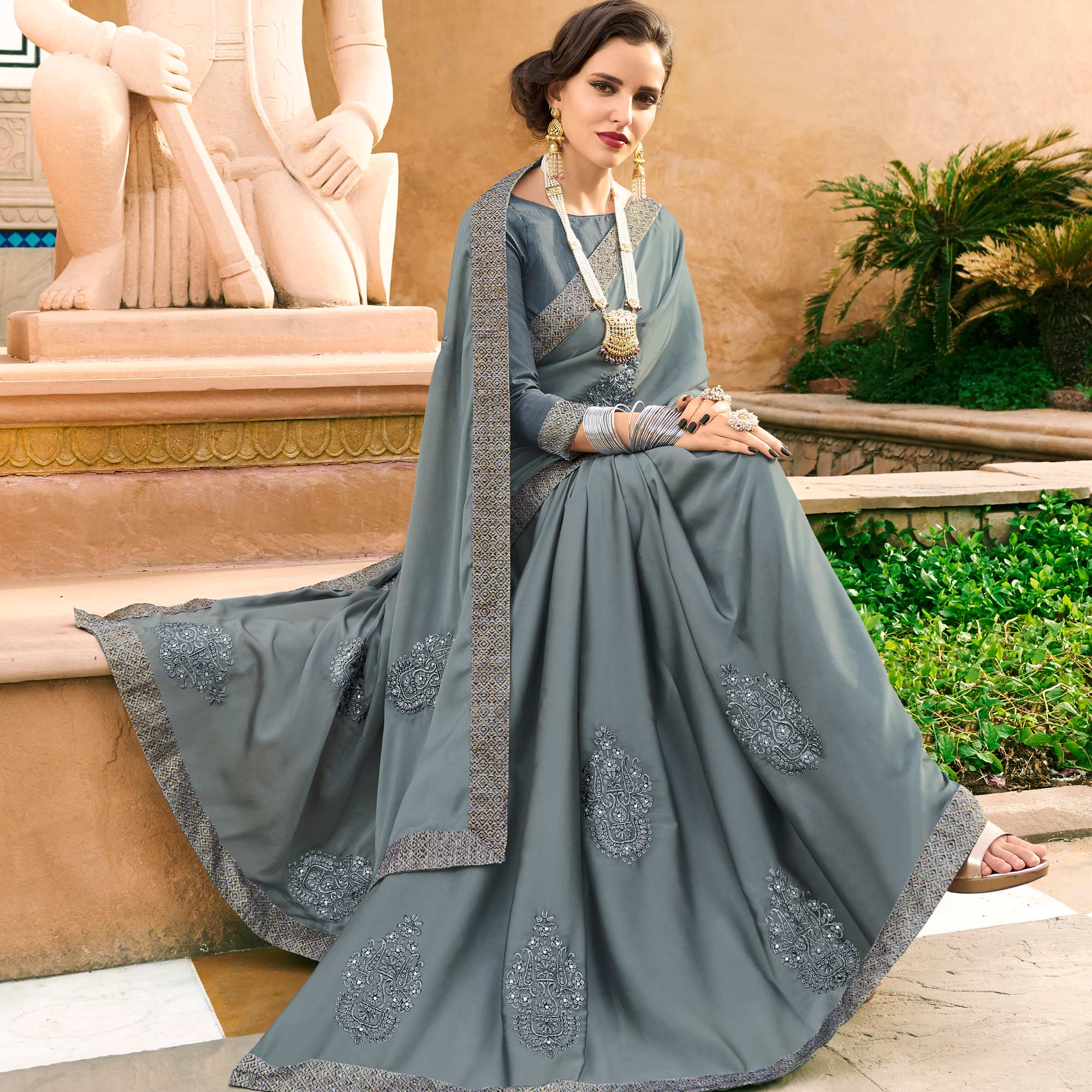 Sophisticated Gray Colored Partywear Embroidered Silk-Georgette Saree