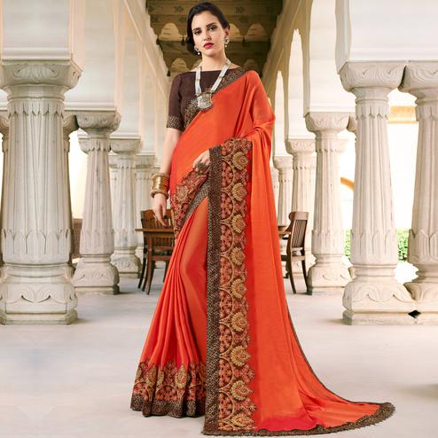 Stylish Orange Colored Partywear Embroidered Silk-Georgette Saree