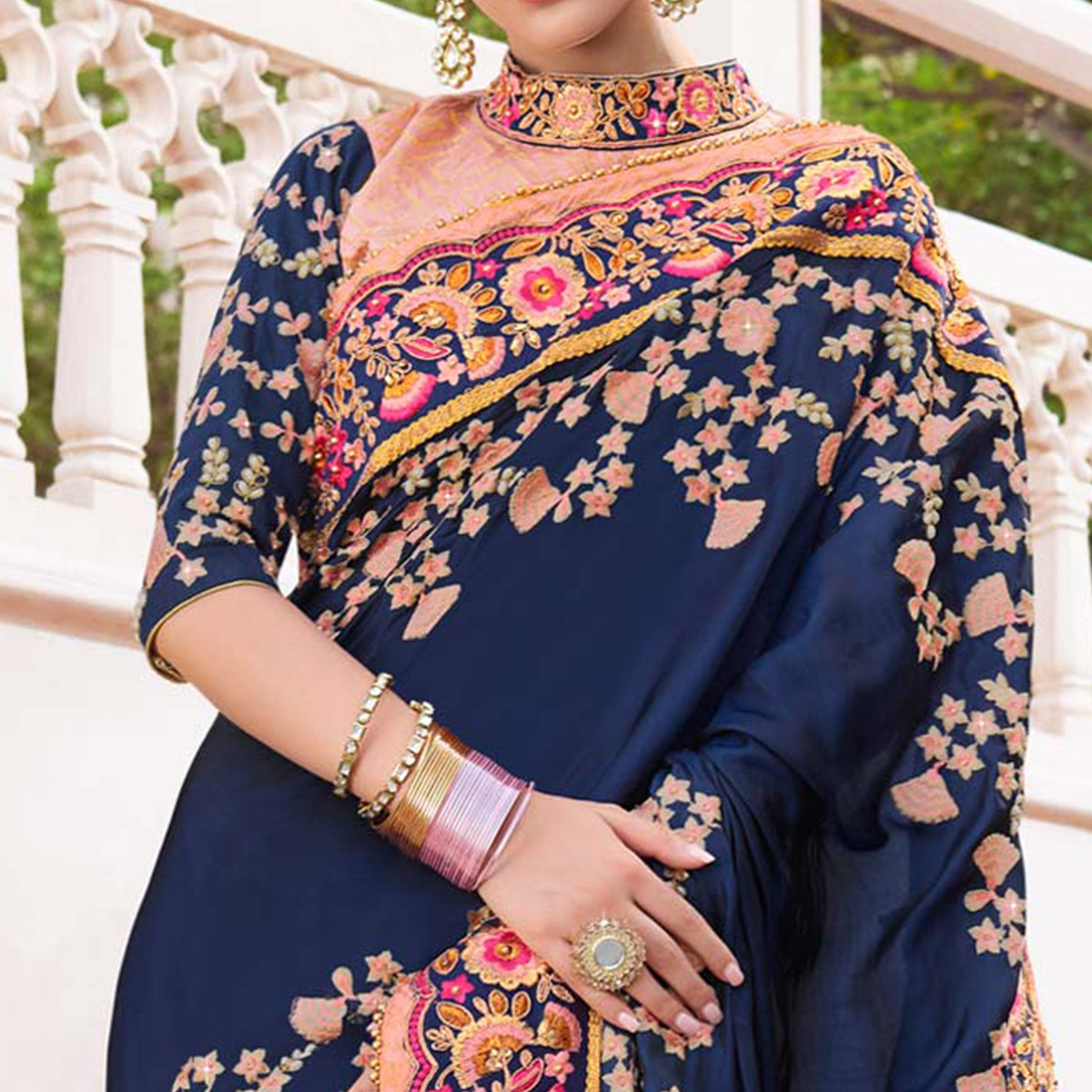 Jazzy Navy Blue & Peach Colored Wedding Wear Embroidered Silk-Georgette Saree