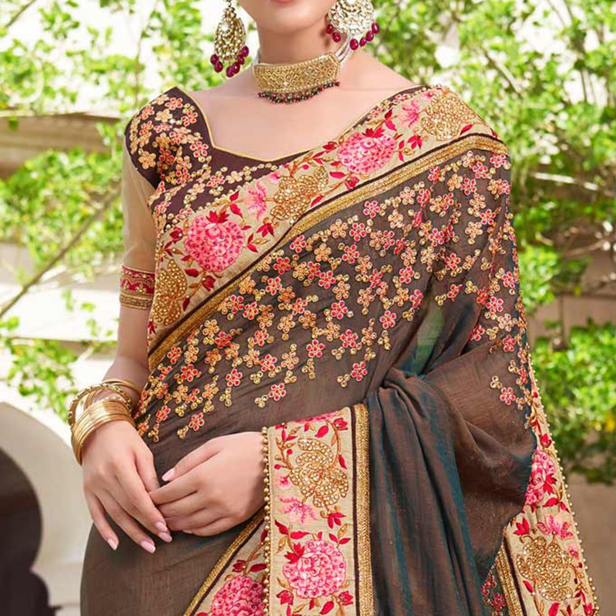 Appealing Brown & Beige Colored Wedding Wear Embroidered Art Silk-Georgette Saree