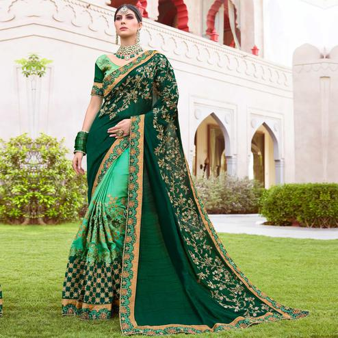 Groovy Dark Green & Green Colored Wedding Wear Embroidered Art Silk Saree