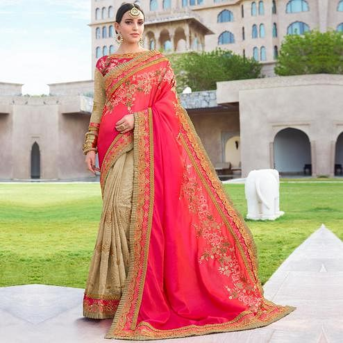 Prominent Dark Pink & Beige Colored Wedding Wear Embroidered Silk-Georgette Saree