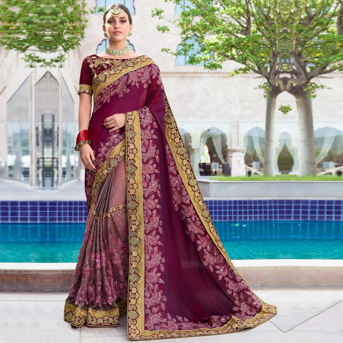 Capricious Wine & Mauve Colored Wedding Wear Embroidered Silk-Georgette Saree