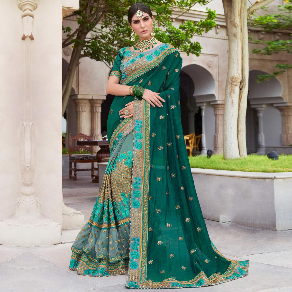 Adorning Teal Green & Grey Colored Wedding Wear Embroidered Art Silk Saree