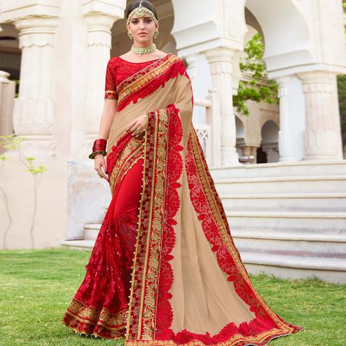 Captivating Beige & Red Colored Wedding Wear Embroidered Georgette Saree