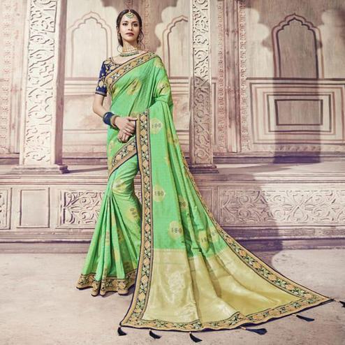 Sophisticated Green Colored Partywear Embroidered Banarasi Silk Jacquard Saree