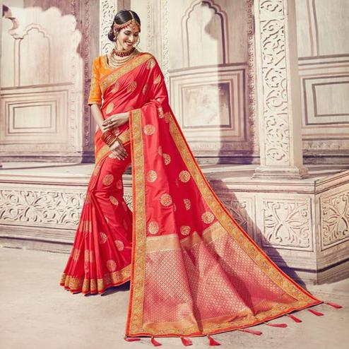 Fantastic Red Colored Partywear Embroidered Banarasi Silk Jacquard Saree