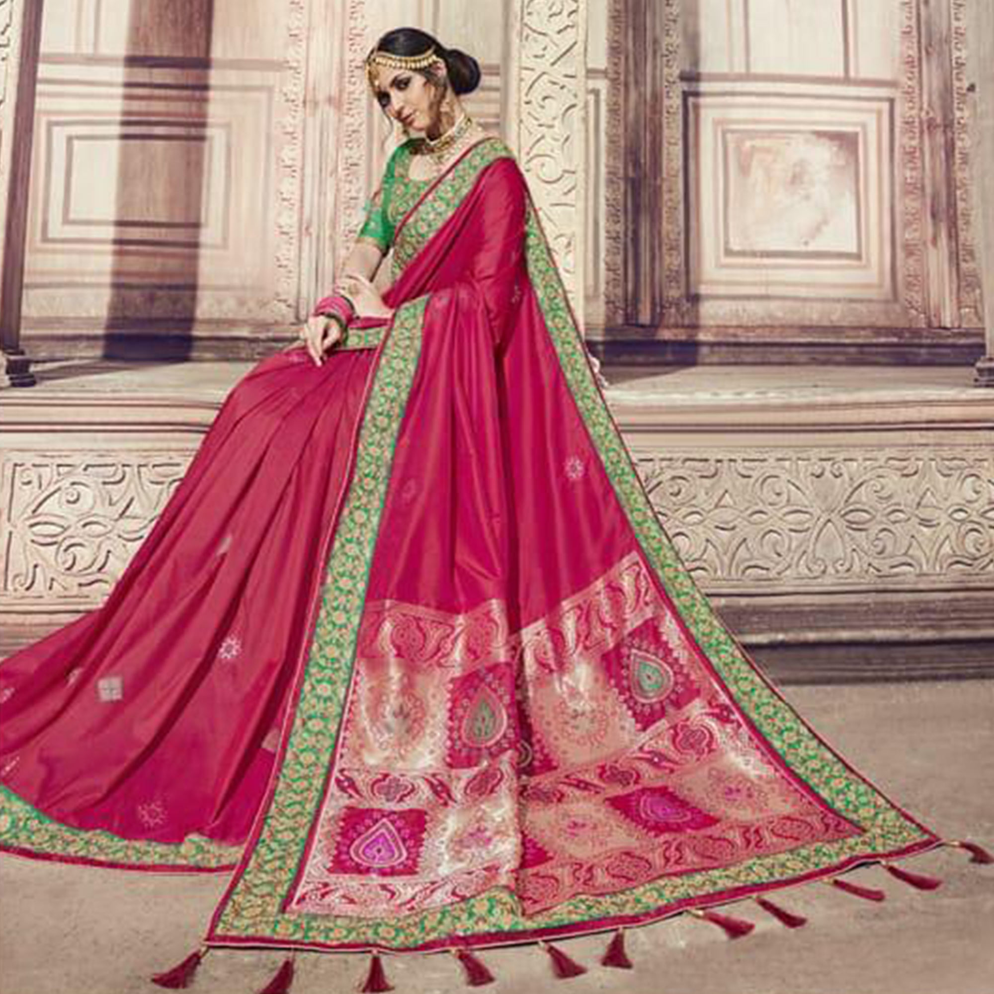 Blooming Pink Colored Partywear Embroidered Banarasi Silk Jacquard Saree