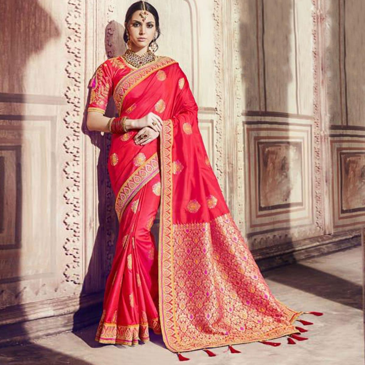 Exceptional Deep Pink Colored Partywear Embroidered Banarasi Silk Jacquard Saree