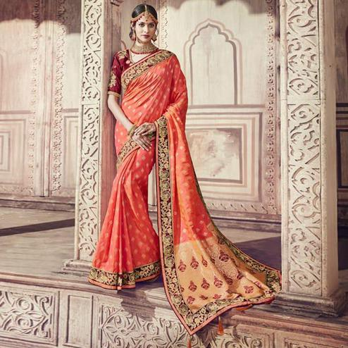 Excellent Peach Colored Partywear Embroidered Banarasi Silk Jacquard Saree