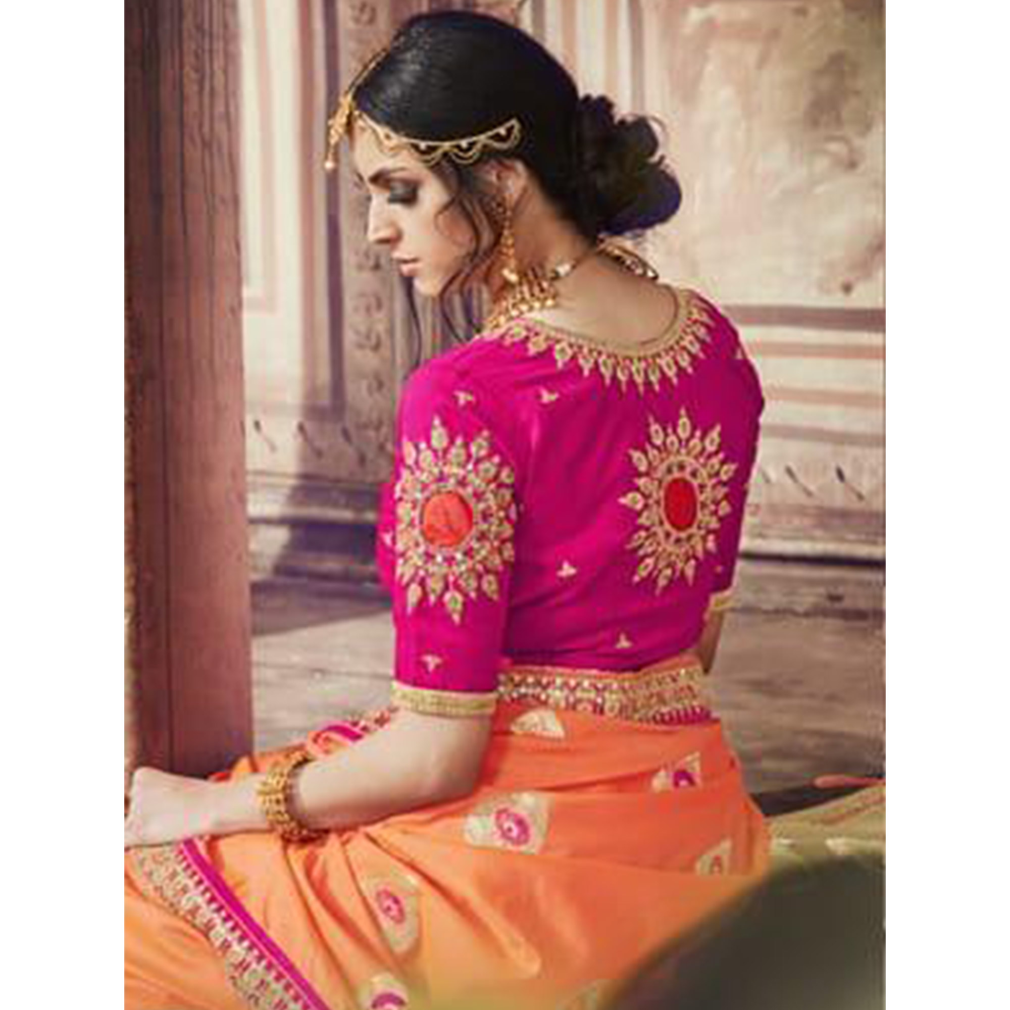 Favorite Peach Colored Partywear Embroidered Banarasi Silk Jacquard Saree