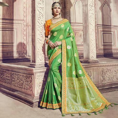 Impressive Green Colored Partywear Embroidered Banarasi Silk Jacquard Saree