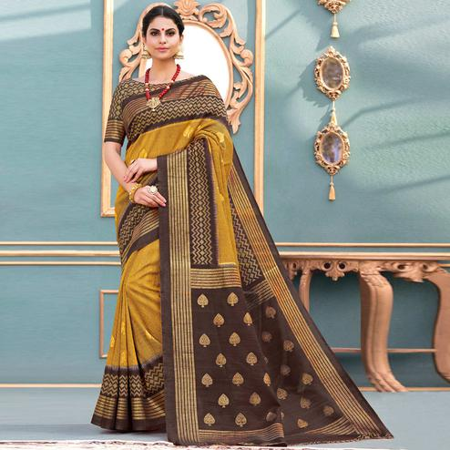 Elegant Mustard Yellow Colored Festive Wear Printed Art Silk Saree