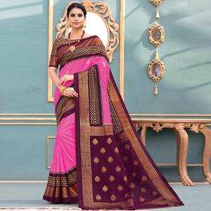 Mesmerising Pink Colored Festive Wear Printed Art Silk Saree