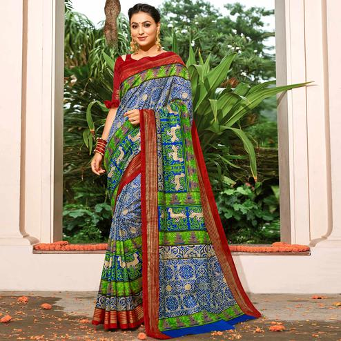 Attractive Multi Colored Festive Wear Printed Art Silk Saree