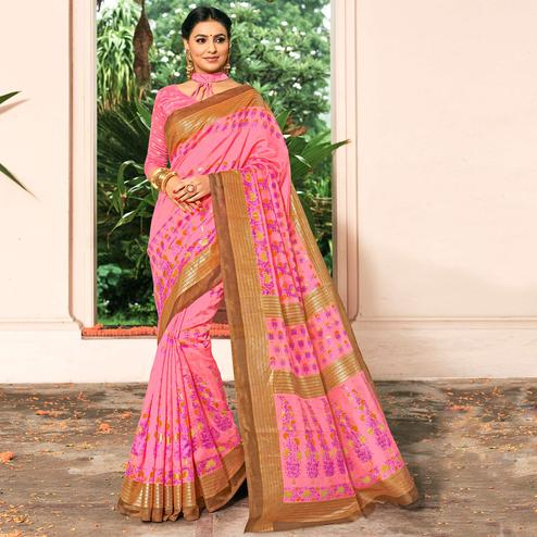 Charming Pink Colored Festive Wear Printed Art Silk Saree