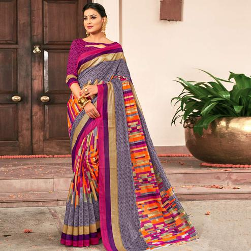 Adorning Gray-Multi Colored Festive Wear Printed Art Silk Saree
