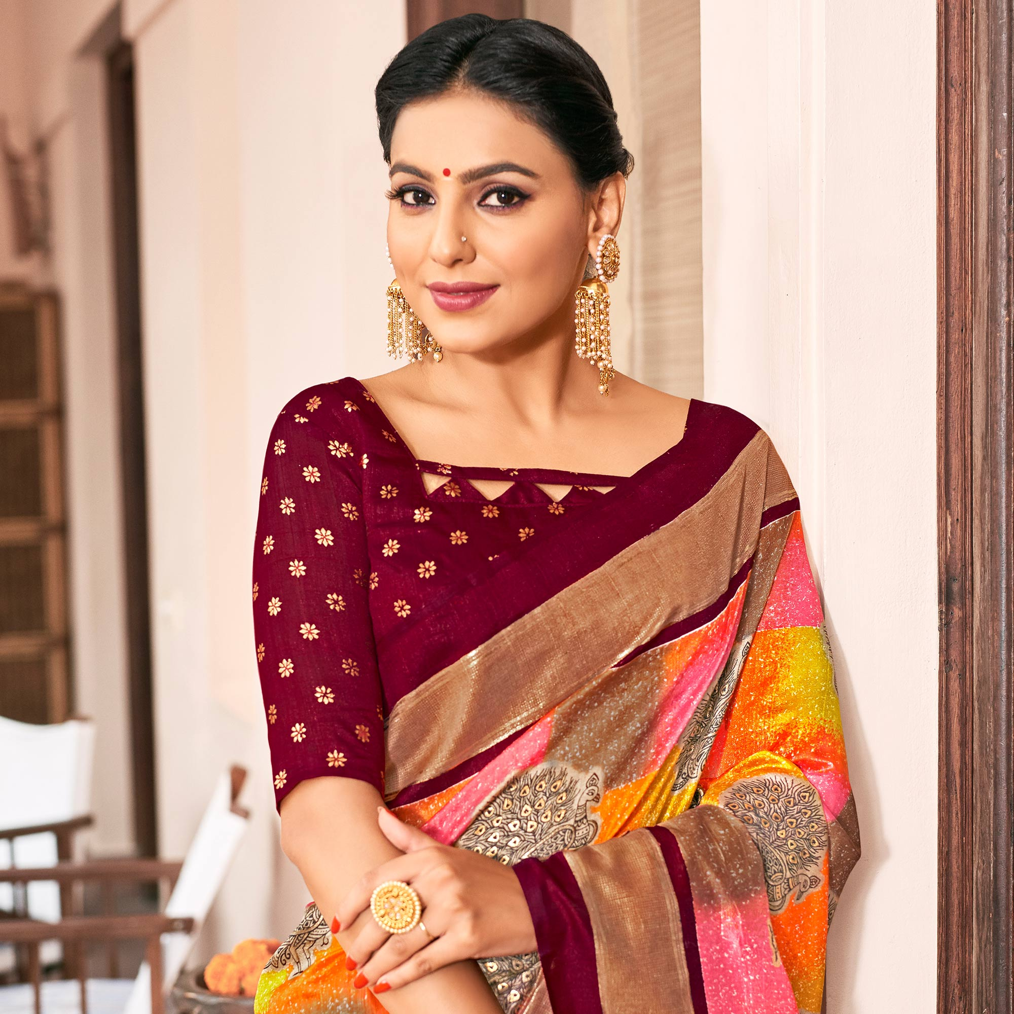 Sophisticated Multi Colored Festive Wear Printed Art Silk Saree