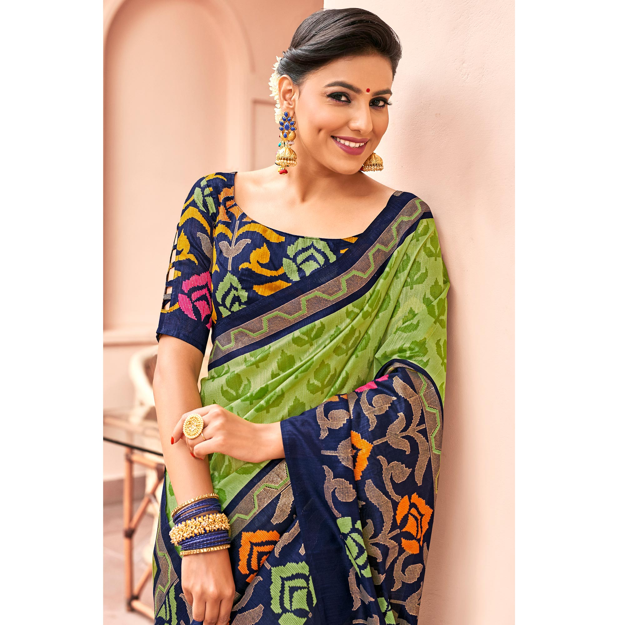Refreshing Green Colored Festive Wear Printed Art Silk Saree