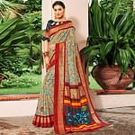 Amazing Beige-Red Colored Festive Wear Printed Art Silk Saree