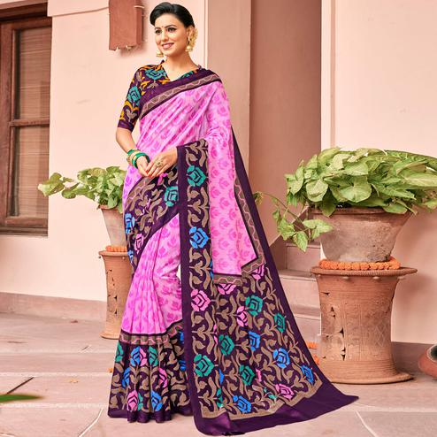 Stunning Pink-Purple Colored Festive Wear Printed Art Silk Saree