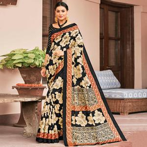 Flaunt Black-Cream Colored Festive Wear Printed Art Silk Saree