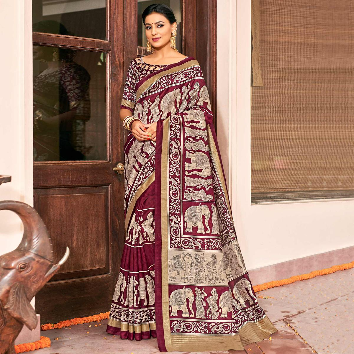 Classy Maroon-Gray Colored Festive Wear Printed Art Silk Saree