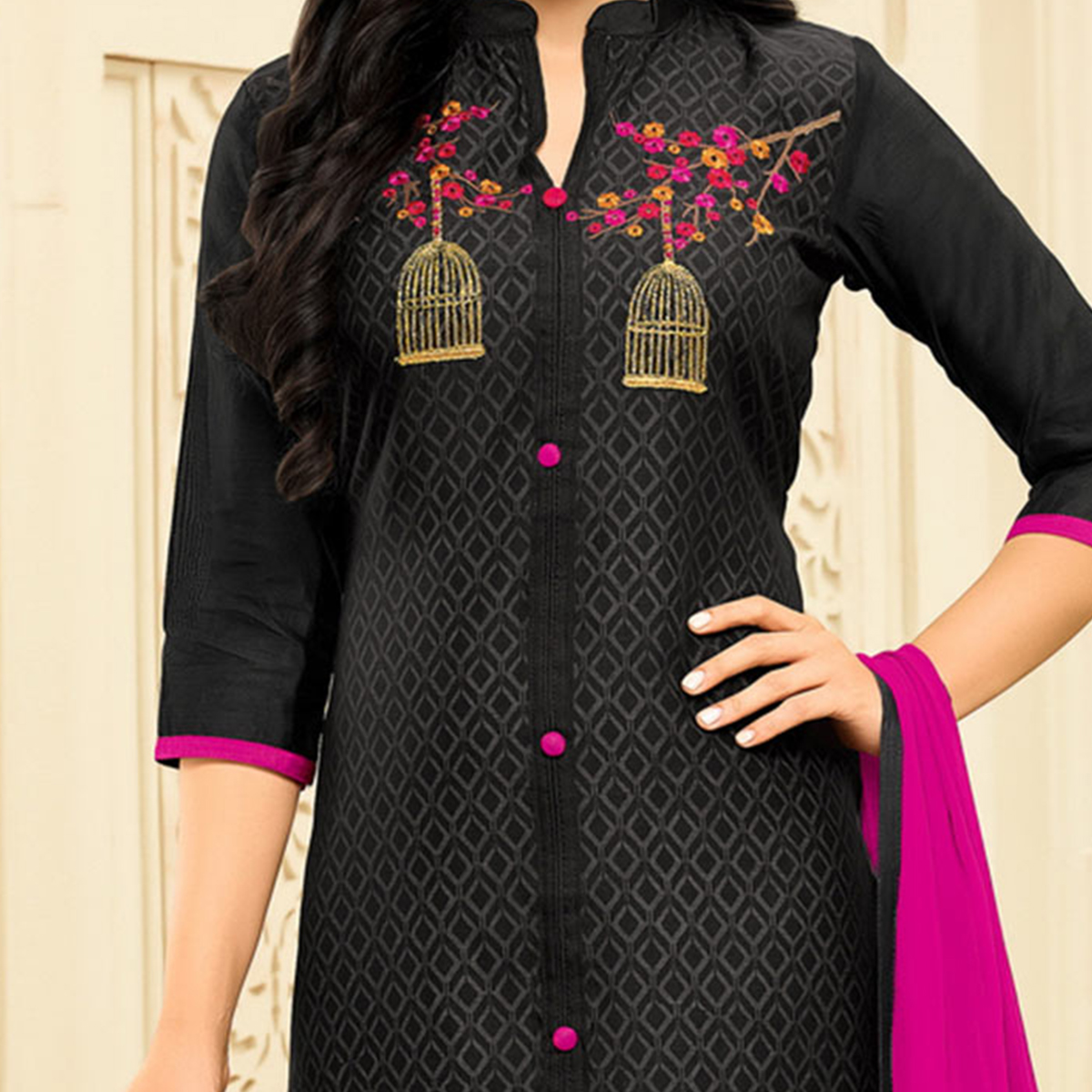 Stunning Black Embroidered Chanderi Salwar Suit