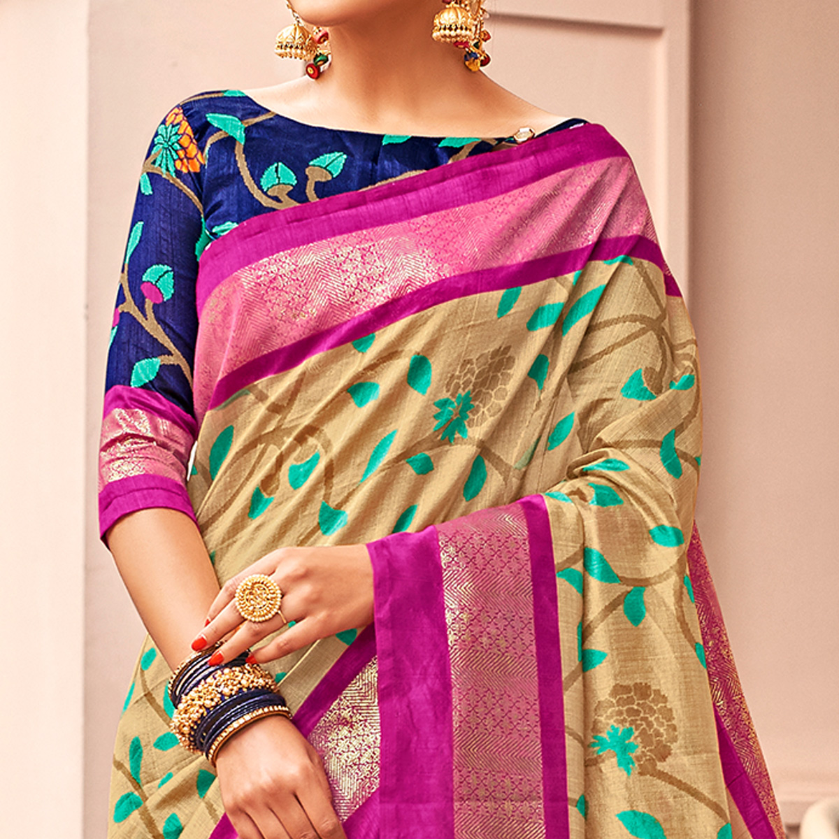 Energetic Beige-Pink Colored Festive Wear Printed Art Silk Saree