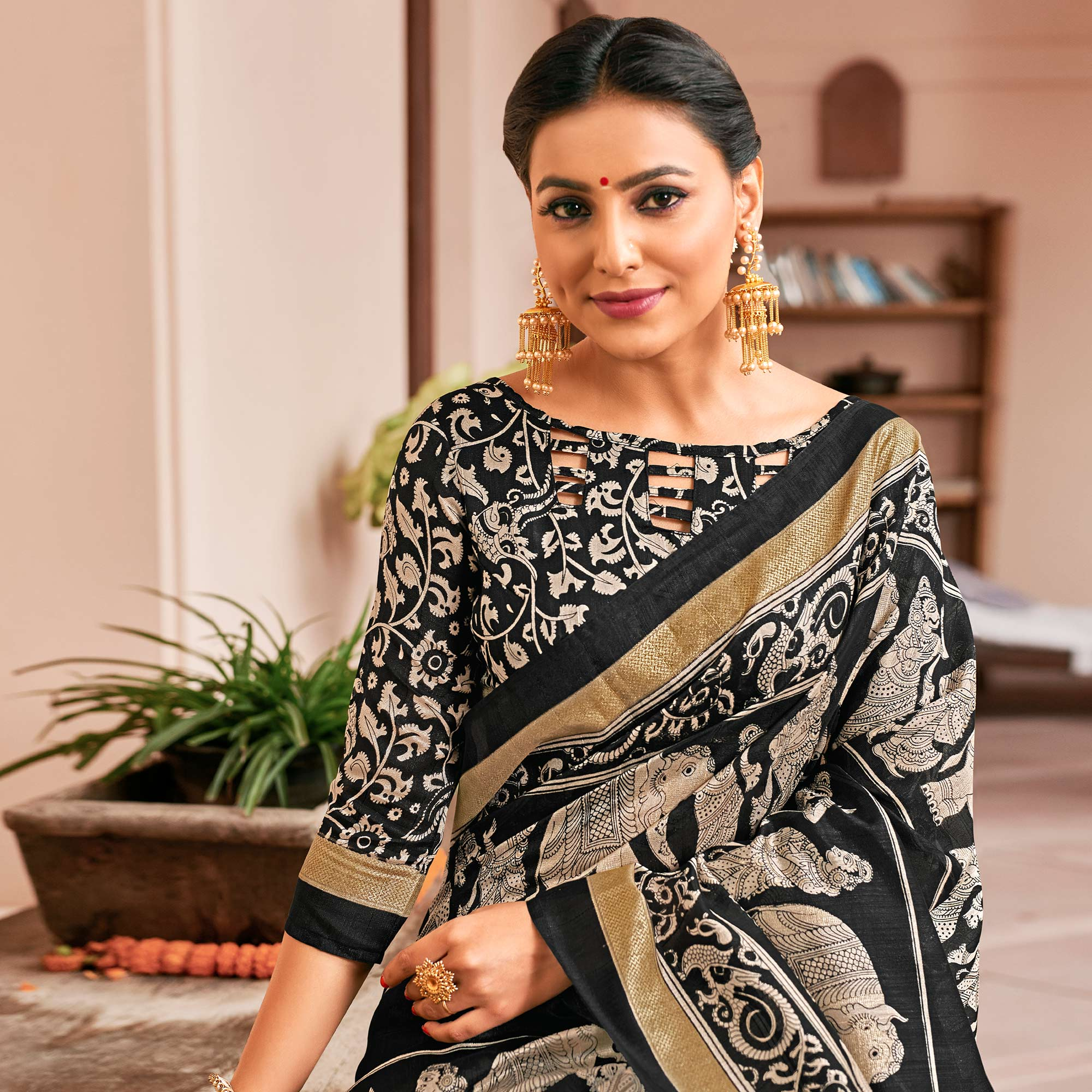 Eye-Catching Black-Cream Colored Festive Wear Printed Art Silk Saree