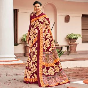Traditional Maroon-Cream Colored Festive Wear Printed Art Silk Saree