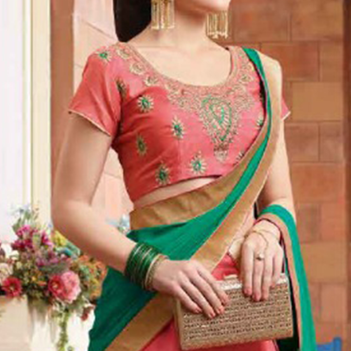 Desirable Pink Colored Party Wear Embroidered Silk Lehenga Choli
